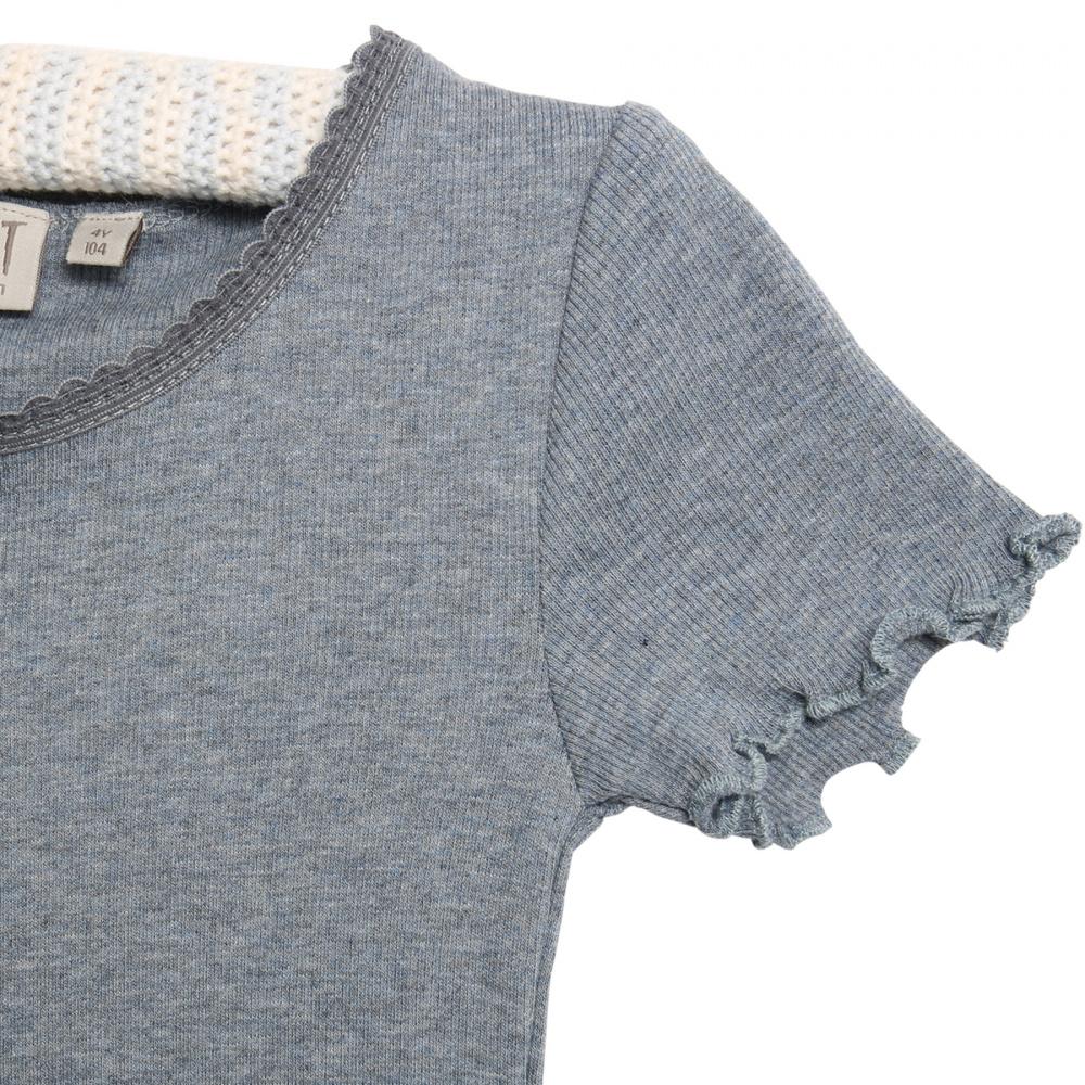 Wheat ribb lace t skjorte til barn, flintstone melange