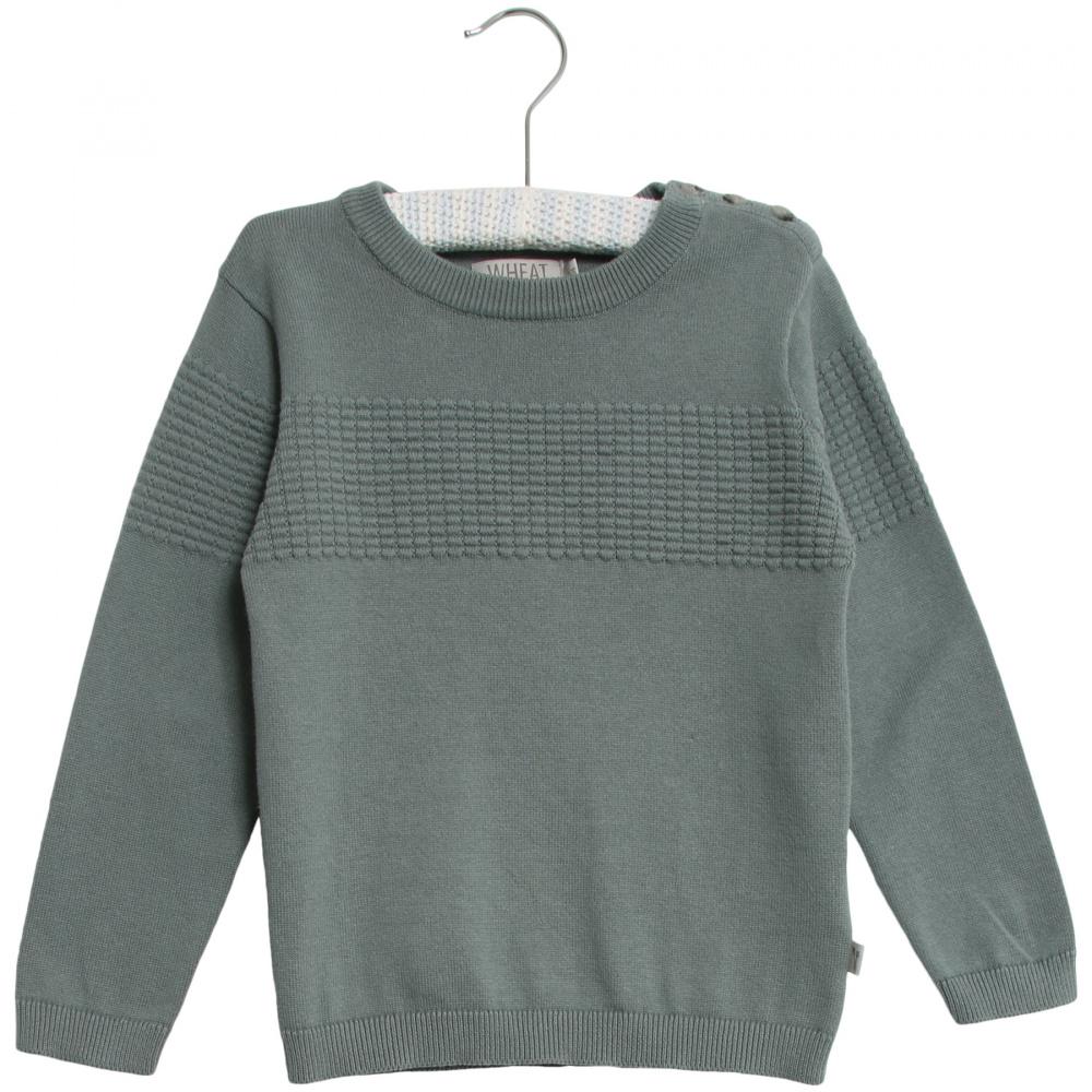BlåGrønn Wheat Knit Pullover Carlos Genser Familiebutikken.no